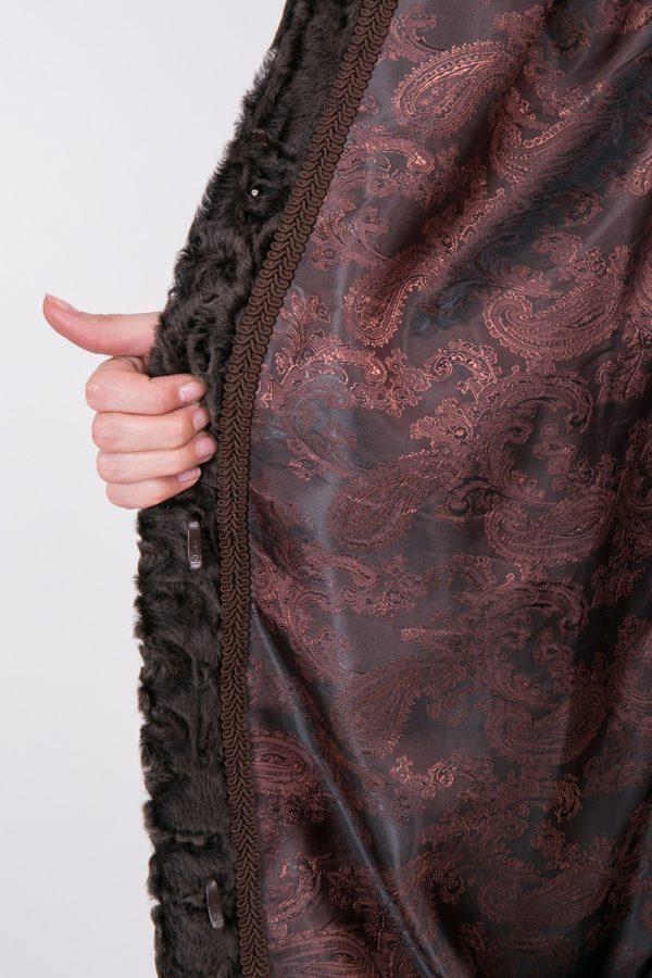 Шуба Fursini из каракуля, коричневая