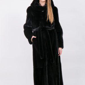 Шуба из скандинавской норки черная