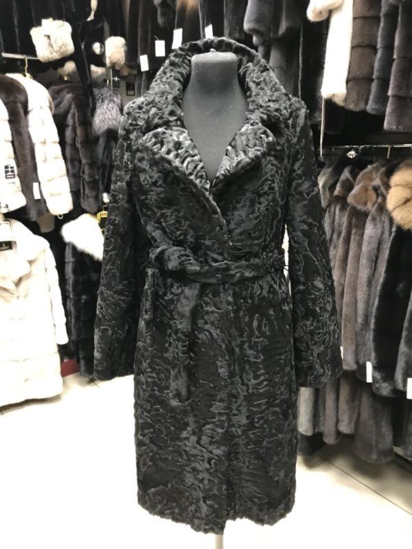 Пальто Fursini из каракуля, черное
