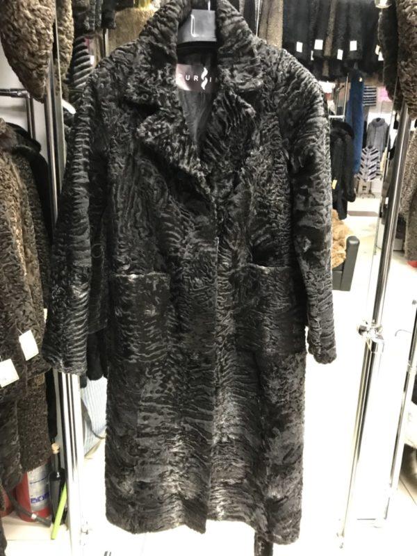 Пальто Fursini из каракуля, серое
