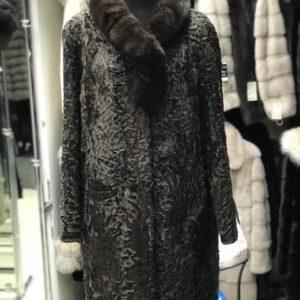 Пальто Fursini из каракуля, коричневое
