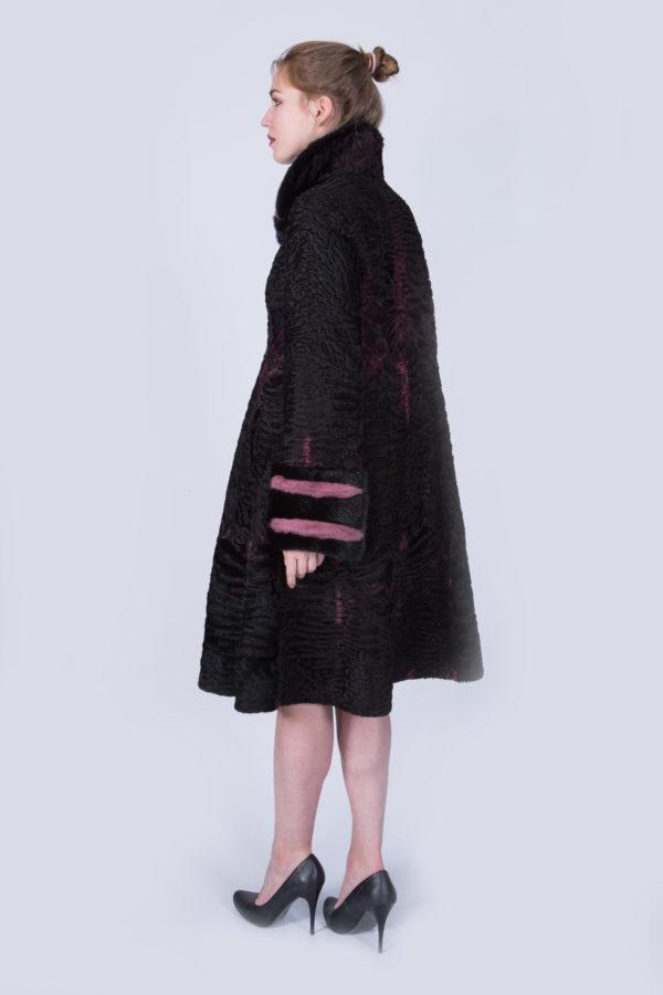 Шуба Fursini из каракуля, черно-розовая