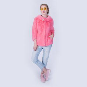 Шубка Fursini из норки розовая