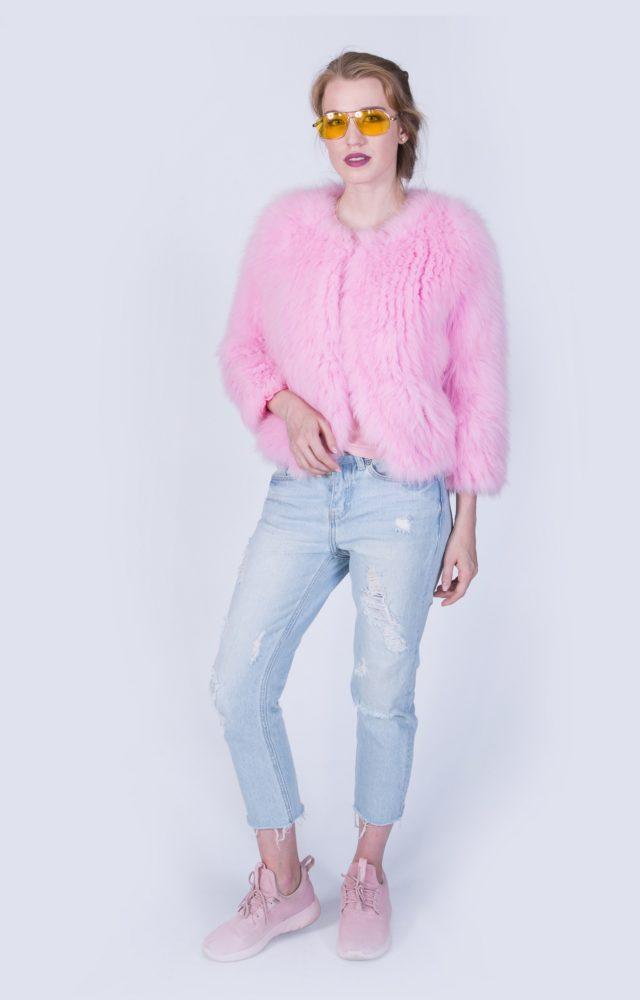 Шубка Fursini из кролика розовая