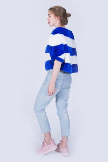 Куртка Fursini из норки бело-синяя