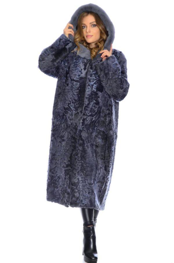 Шуба Fursini из каракуля, темно-синяя