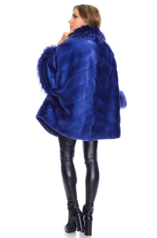 Шуба Fursini из норки, синяя