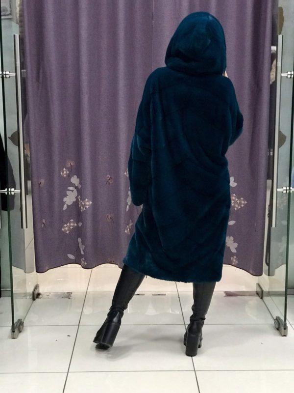 Шуба Fursini из норки синяя